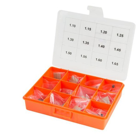 Calibration Thickness Kit: Diam. 5,80 - Hole 3,00 Thickness: 1,10 - 1,65 - Cut 0,05 -12 Measure - 120 Pieces