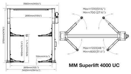 MM Superlift 4000 UC - 2-post lift with upper connection and lifting capacity of 4000kg